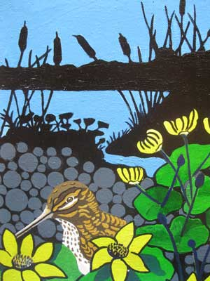 Jack Snipe,jack snipe with kingcups,roger gregory bird artist,wildlife artist,